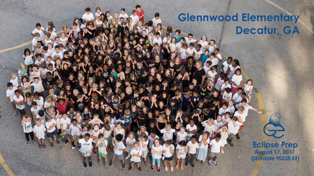 Glennwood students mirrored the solar eclipse. Drone photo by Glennwood parent, Soren Christiansen. Soren@skyseevideo.com