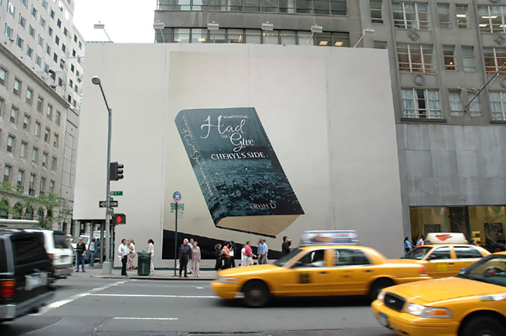 A busy New York street and a billboard showing Trish Ds book Something Had To Give Cheryls Side.jpg