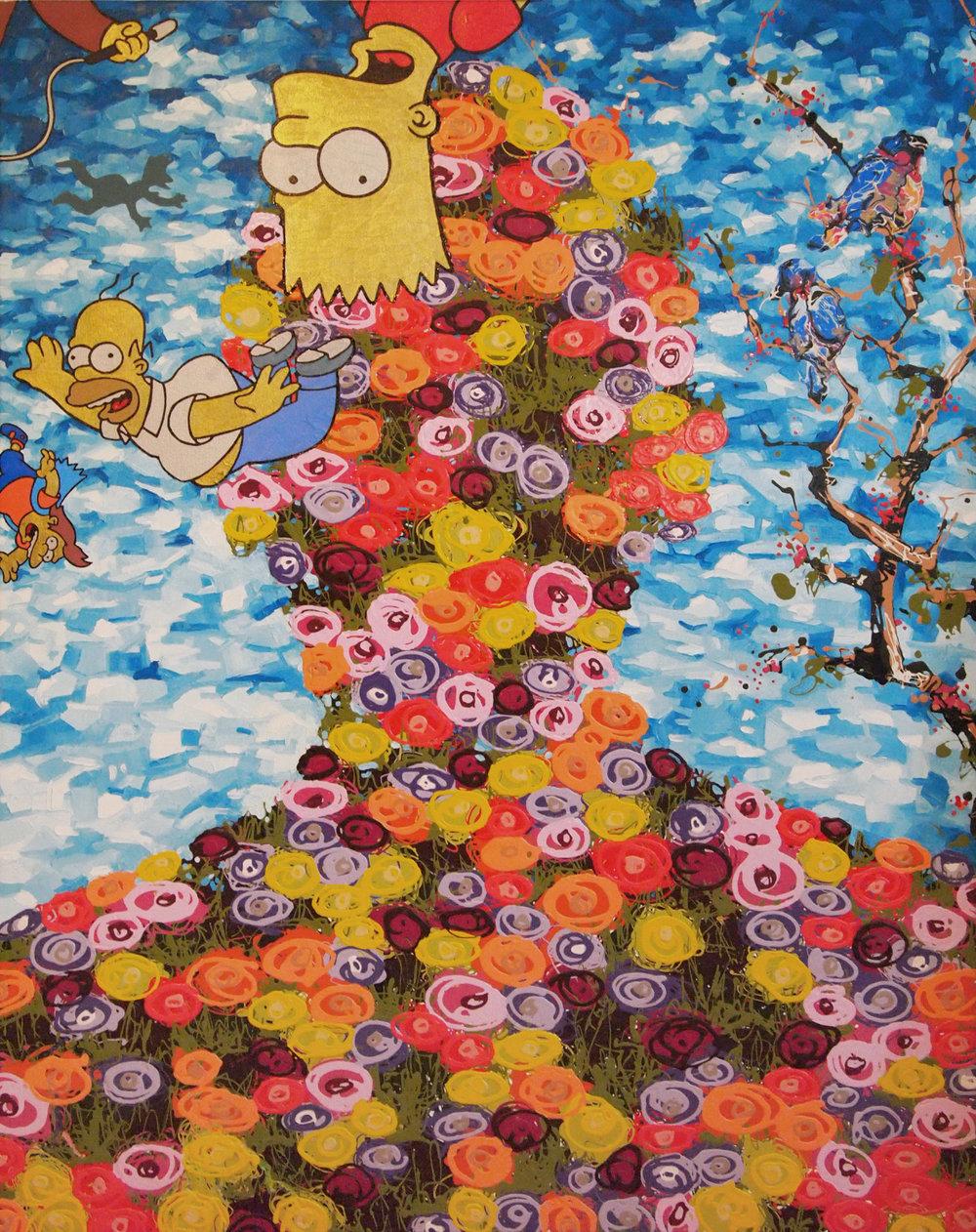 2013 flora face oil acrylic and enamel on canvas 48x60.jpg