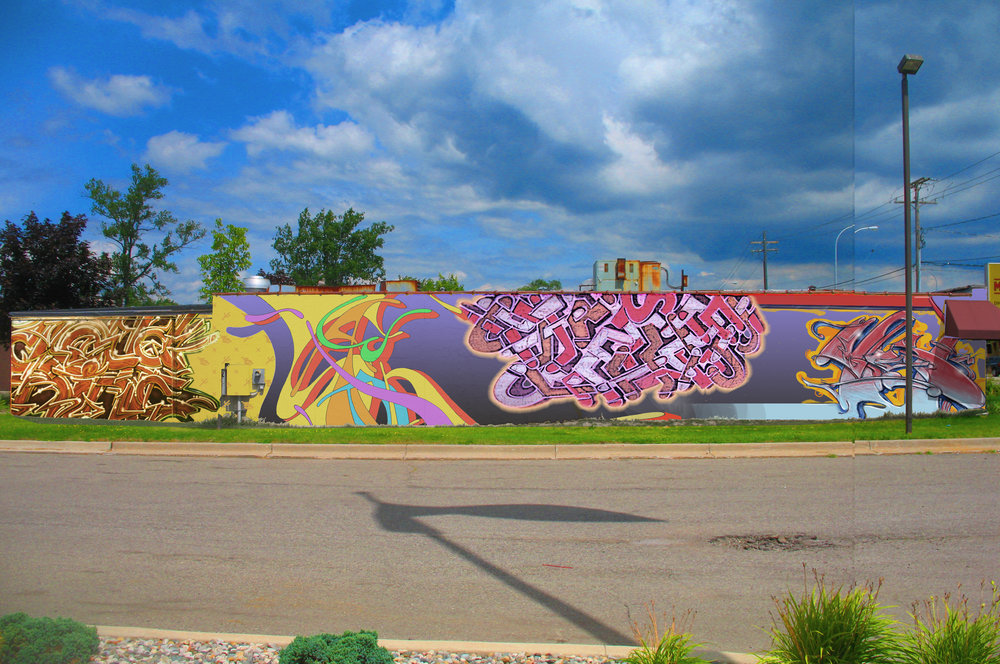 A graffiti mural proposal (in location) that was not apporved
