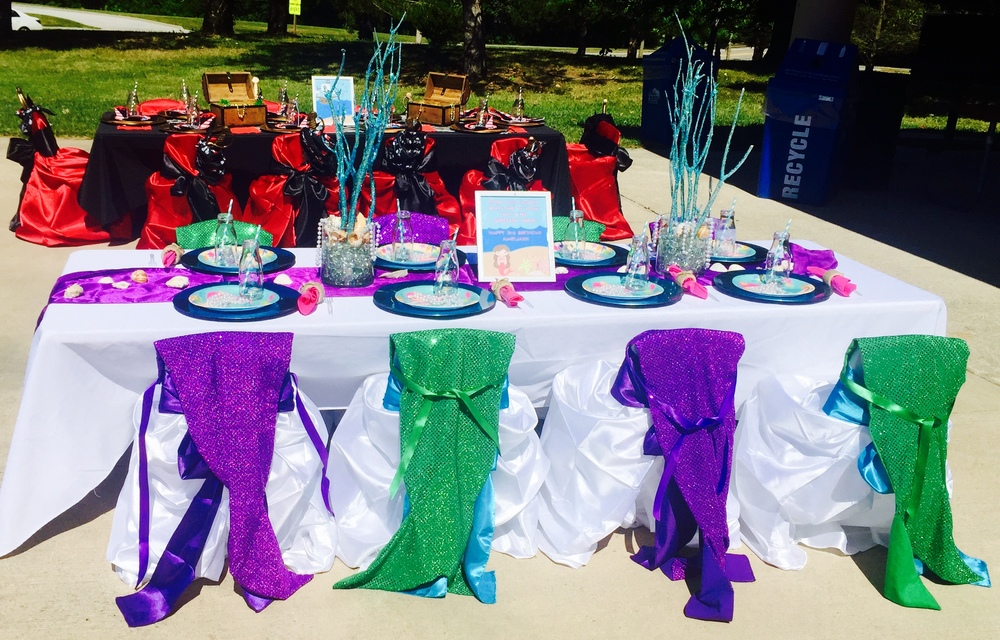 Each guest will be able to adorn one of these beautiful purple or green sparkling mermaid tails and transform themselves into a mermaid for the party!