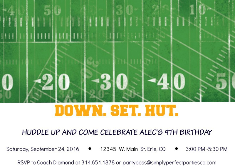 The invitation I created for the upcoming football birthday party. This has been such a fun party to design!
