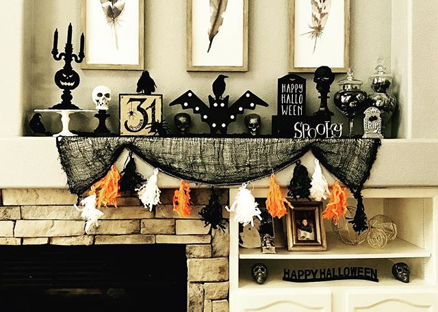 A little mantle decor...I love Halloween! #spooky #halloween #halloweenmantle
