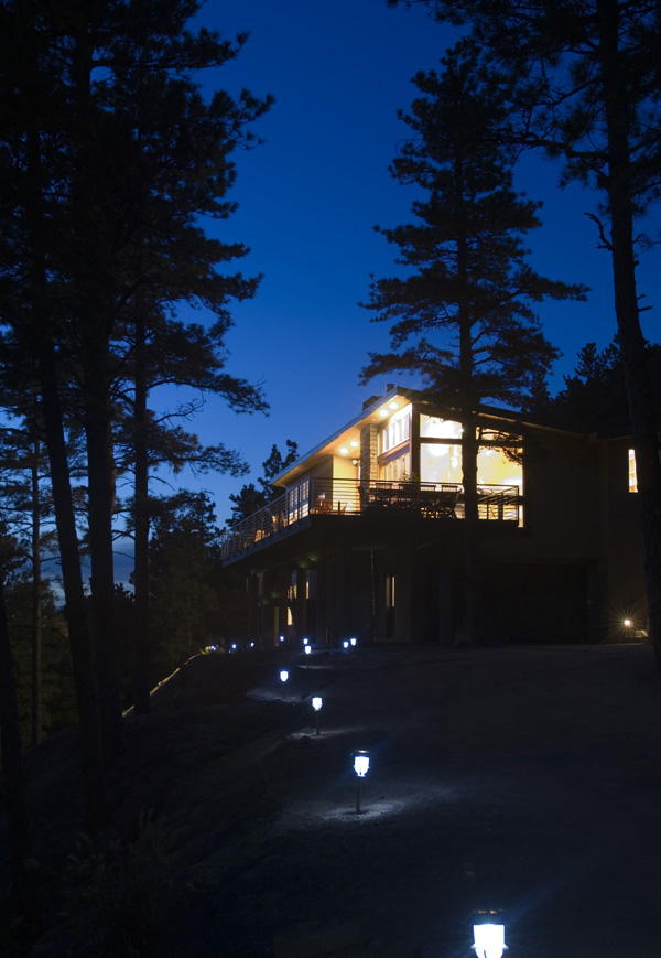 twilight image, Valley Lane house, by M. Gerwing Architects, Boulder, Colorado