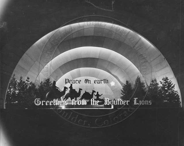 1941 Bandshell at Christmas from Boulder Lions Club