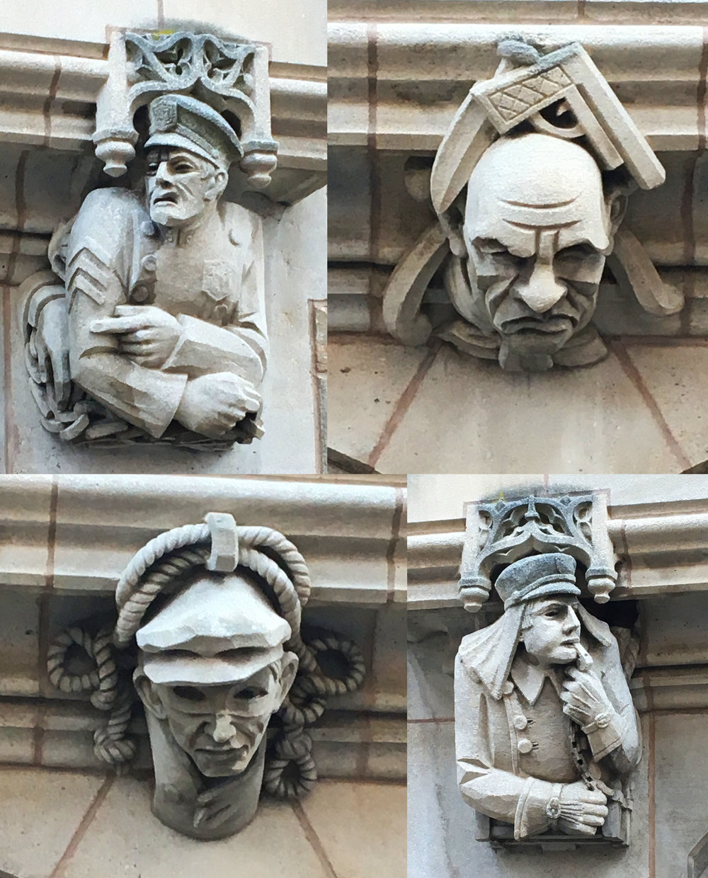Yale Law School, stone sculptures