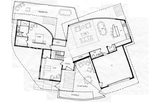 Sunshine Canyon house, sketch plan