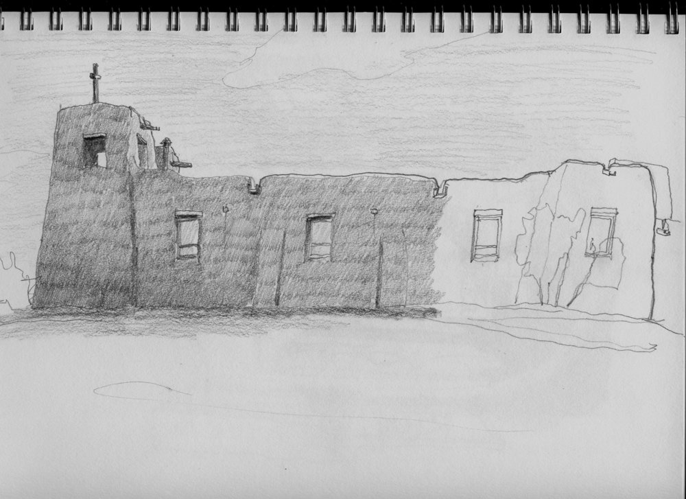 adobe chapel sketch