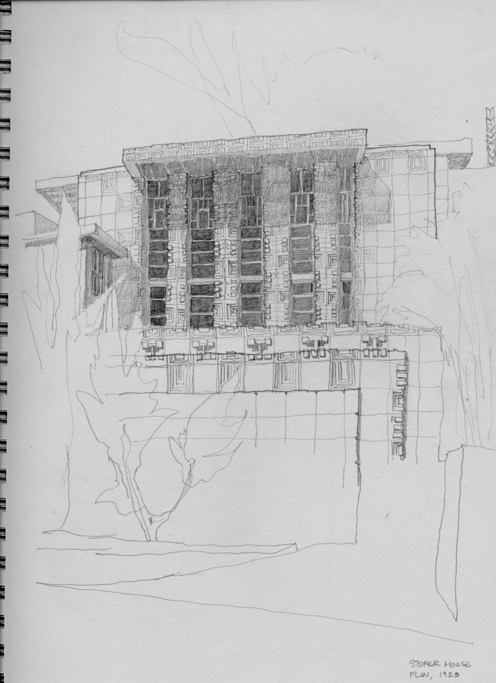 Storer House sketch