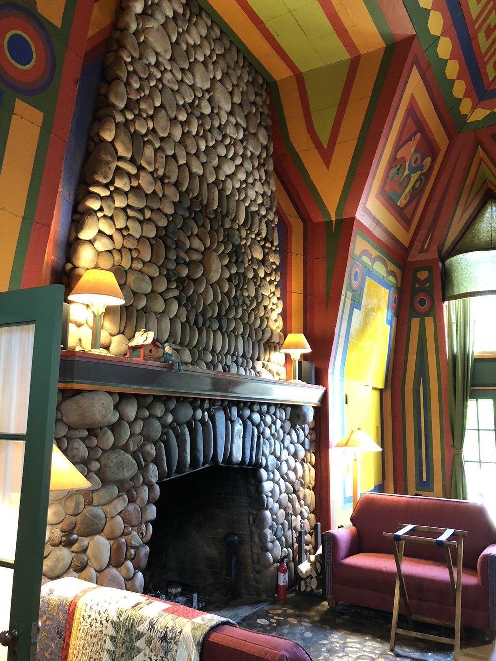 Naniboujou Lodge Dining Room fireplace