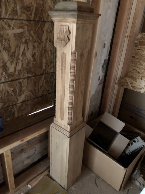 an antique newel post we are about to install on a traditional house