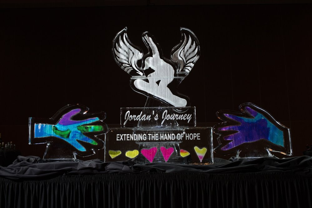 Custom Ice Sculpture with logo for fundraiser gala Jordan's Journey 2017 - Kate Lauren Studios