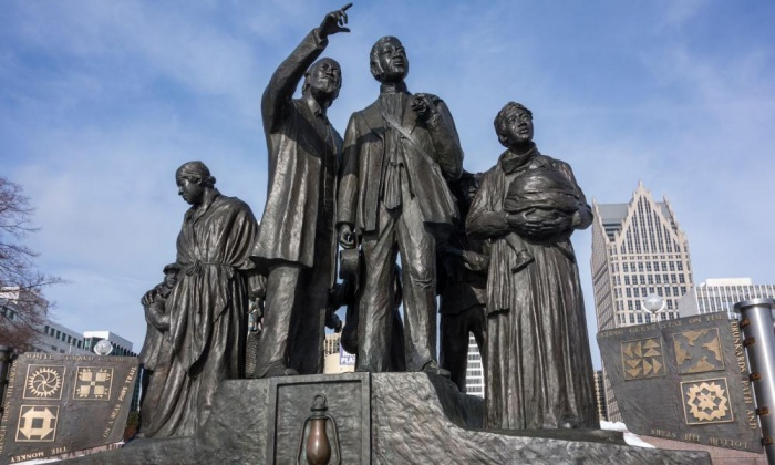 The Gateway to Freedom sculpture by Ed Dwight, Riverside, downtown Detroit. Photograph: Alamy