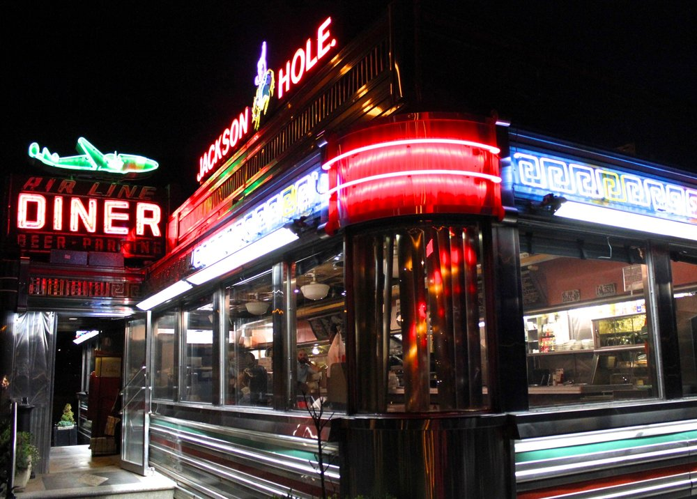 The Airline Diner, in the Astoria neighborhood of Queens, in all its neon glory. Photograph: Raluca Albu