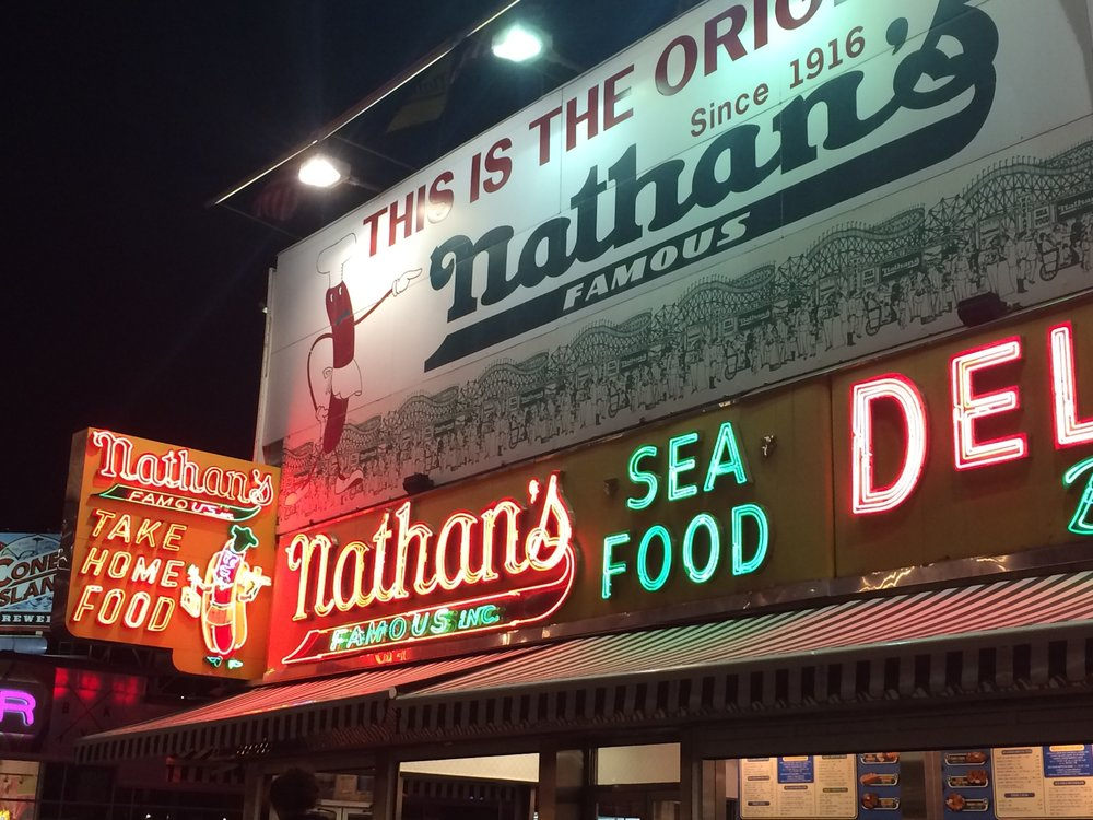 It costs $25,000 a year to keep Nathan's neon signs lit. Photograph: Adrian Brune