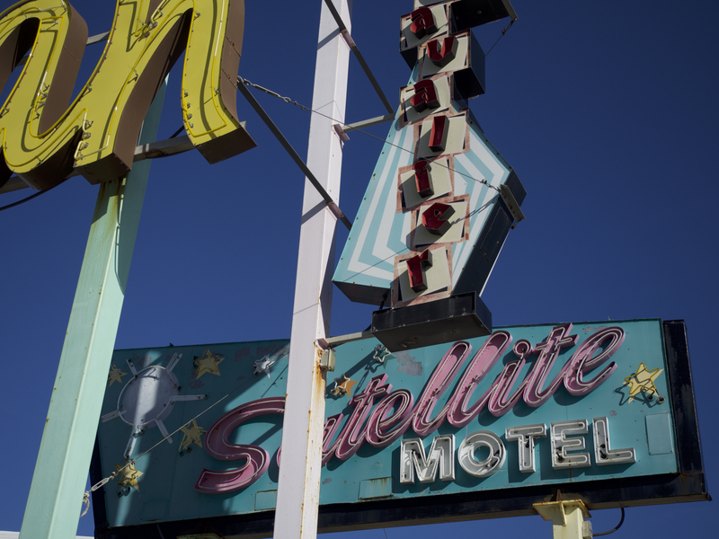 "A mélange of restored and reassembled neon signs from demolished Wildwood motels outside the Doo Wop Experience museum. Inside the museum is a ""neon sign garden"" that celebrates the ""architecture, design, music and pop culture… that made Wildwood famous in its heyday of the 1950s and 1960s."""