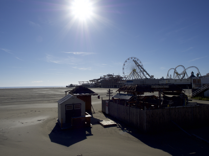 A closed Beach Taxi stand off the boardwalk of Wildwood, New Jersey. In the summer, John Deere gators take tourists and their things to any shore spot, including Morey's Pier Waterfront Park, for $3 one way. Wildwood's beach is estimated to be as wide as 2,000 feet in spots.