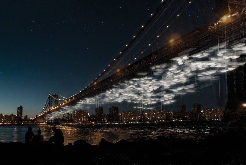 Constellation Park lights up the East River through pods containing decomposing biomass — the cemetery of the future.  COURTESY OF COLUMBIA DEATHLAB