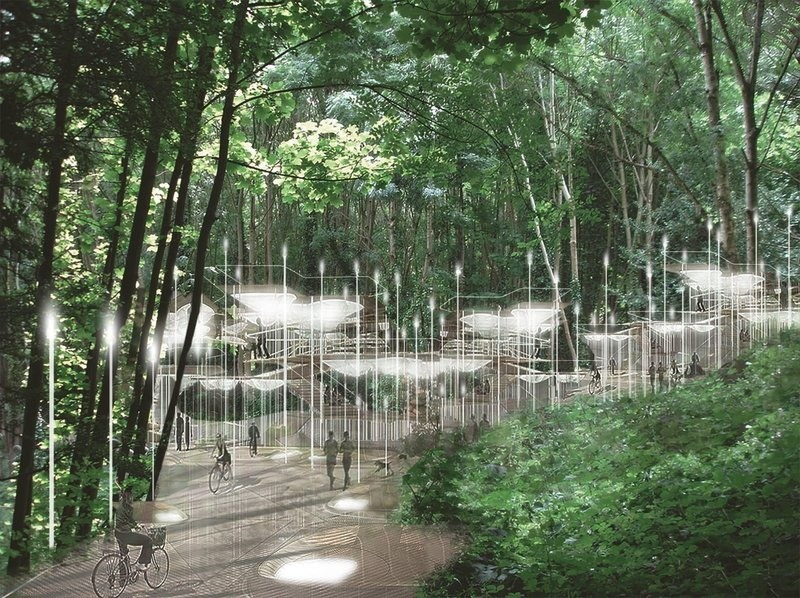A project underway at Arnos Vale cemetery would build lights powered by decaying biomass instead of burying the dead.  COURTESY OF COLUMBIA DEATHLAB