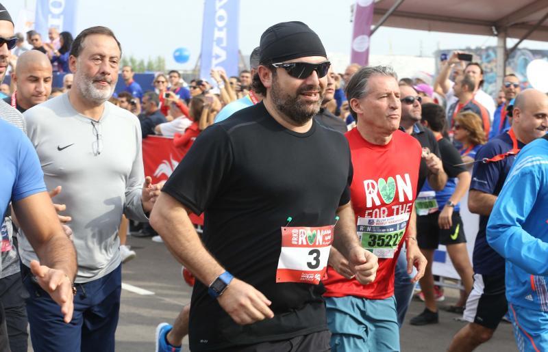Prime Minister Saad Hariri and Lord Sebastian Coe running the 10K, Beirut, Lebanon.
