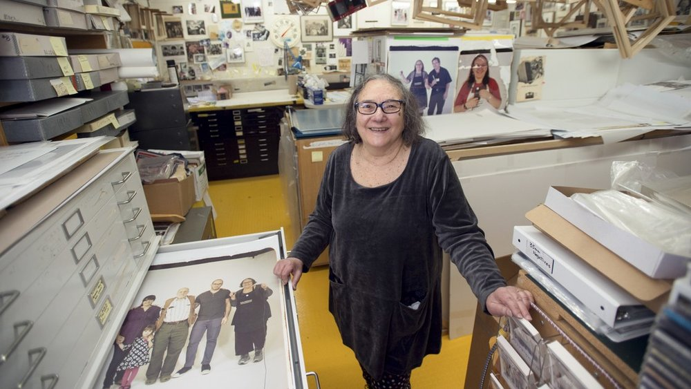 Portrait photographer Elsa Dorfman found her medium in 1980: the larger-than-life Polaroid Land 20x24 camera. See her career shooting families, Beat poets, rock stars, and Harvard notables in the Errol Morris film.