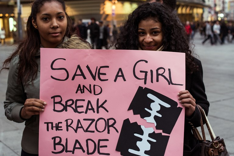 Protesters during the U.N. Population Fund's International Day of Zero Tolerance for Female Genital Mutilation, February 6, 2016. SOURCE  PACIFIC PRESS/GETTY