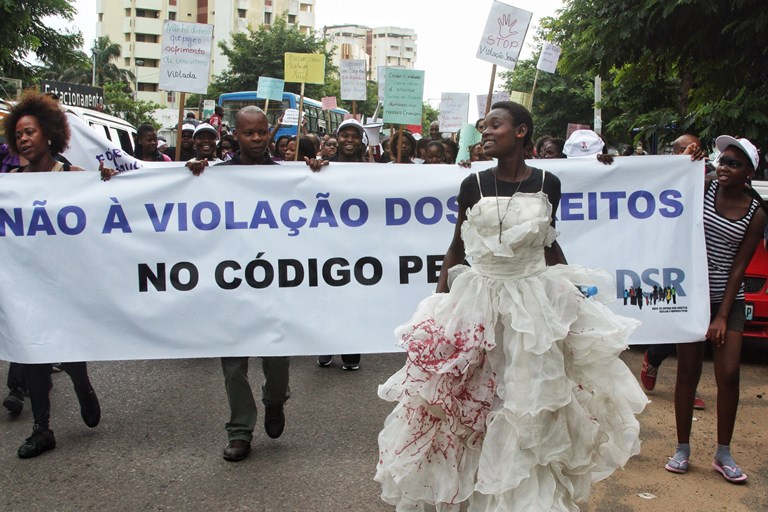 Activists in Maputo, Mozambique, march in 2014 to protest a colonial-era law included in new legislation that allows rapists to go unpunished if they marry their victims — and remain married to them for a minimum of five years. SOURCE:  JINTY JACKSON/AFP/GETTY IMAGES