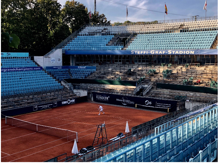 Built in 1996, the 7,000-seat Steffi Graf Stadion (Stadium) was added to the LTTC (Lawn Tennis Tournament Club) Rot-Weiß in Berlin's Grunewald District to provide a larger venue for tournaments, such as the WTA's German Open. Steffi Graf has been a member of the club since 1984.