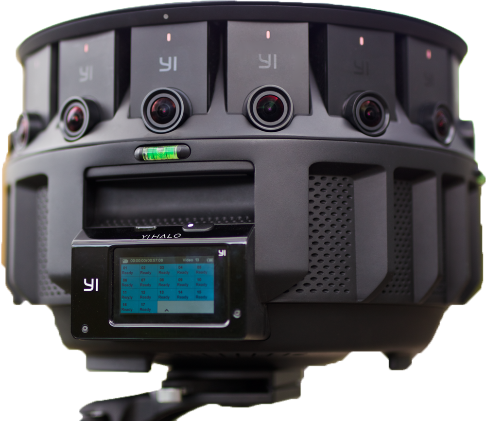 An omnidirectional stereo camera that uses an array of cameras evenly spaced and generate the stereo separation programmatically. (Image courtesy YI Technologies)