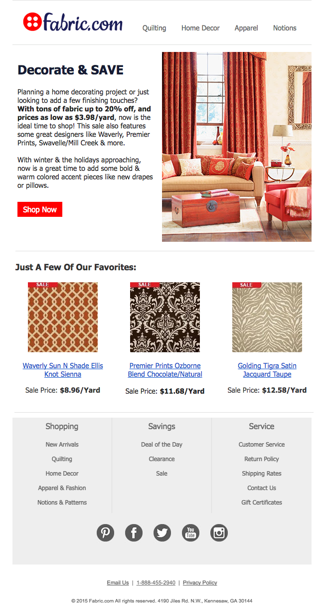 Home Decor Email Campaign