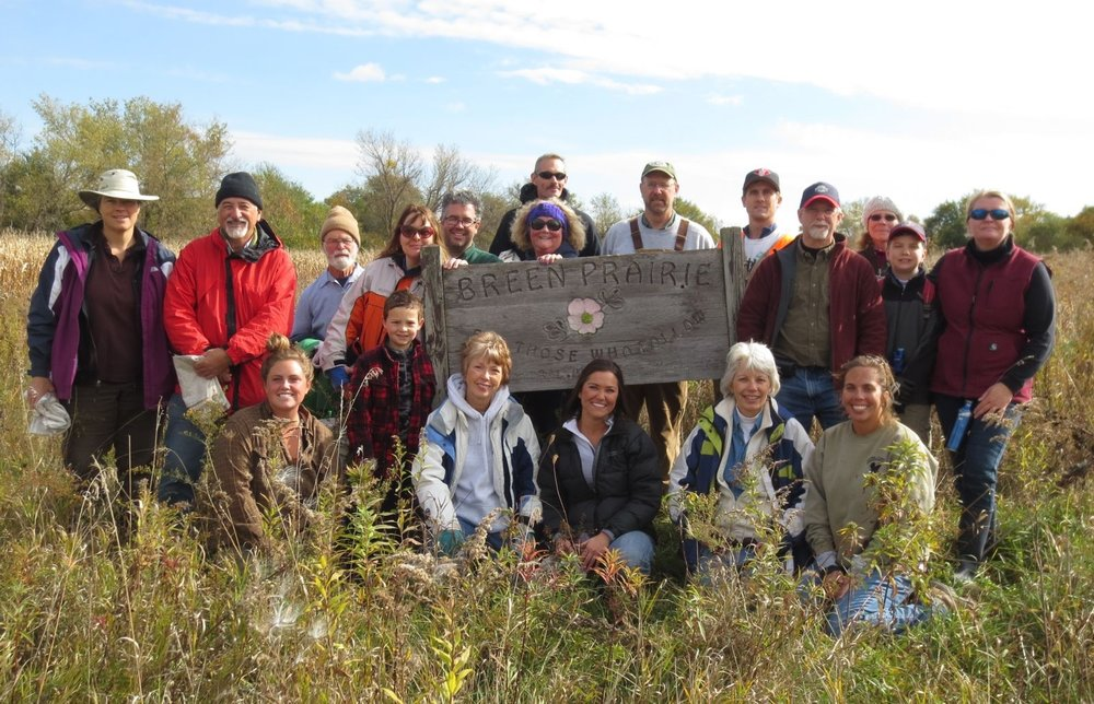 Volunteers at the Iowa Natural Heritage Foundation's Breen Prairie Preserve.  Thanks to INHF for the photo.