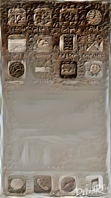 iPhone home screen in the style of a cuneiform tablet
