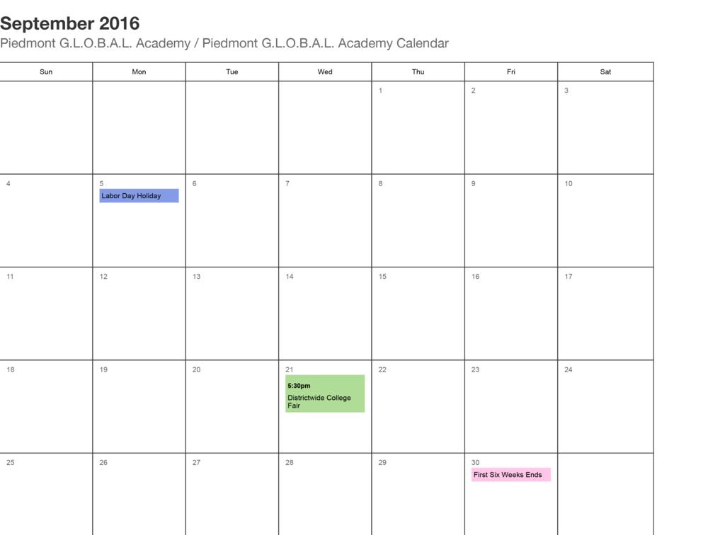 Piedmont Global Academy School Calendar