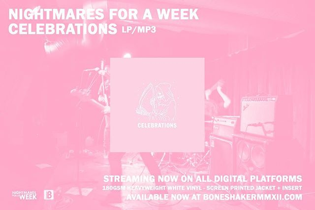 Nightmares for a Week - Celebrations [BS108-LP] is available now on 180g heavyweight white vinyl with a screen printed jacket + insert. Limited edition of 200. Shop now at boneshakermmxii.com. Stream via Spotify, Apple Music, and all other digital platforms. . . . . . . #nightmaresforaweek #nfawcelebrations #boneshakerrecords #kingstonny #uptownkingston #boneshakermmxii #limitededitionvinyl