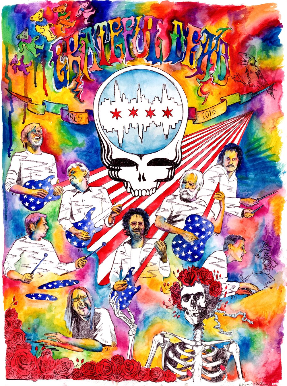 Grateful Dead 50 2015, bic pen & watercolor Sold out of prints 4th of July weekend when the Grateful Dead & their vast followers flooded Chicago for their 5oth anniversary Fare Thee Well show. 27 prints found owners & are lost to me & would love to discover where their homes reside.