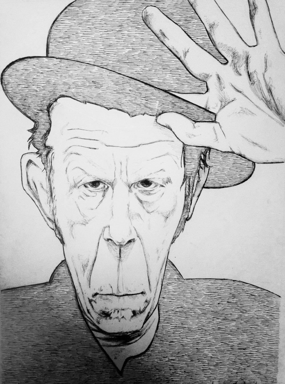 Tom Waits 2015, bic pen