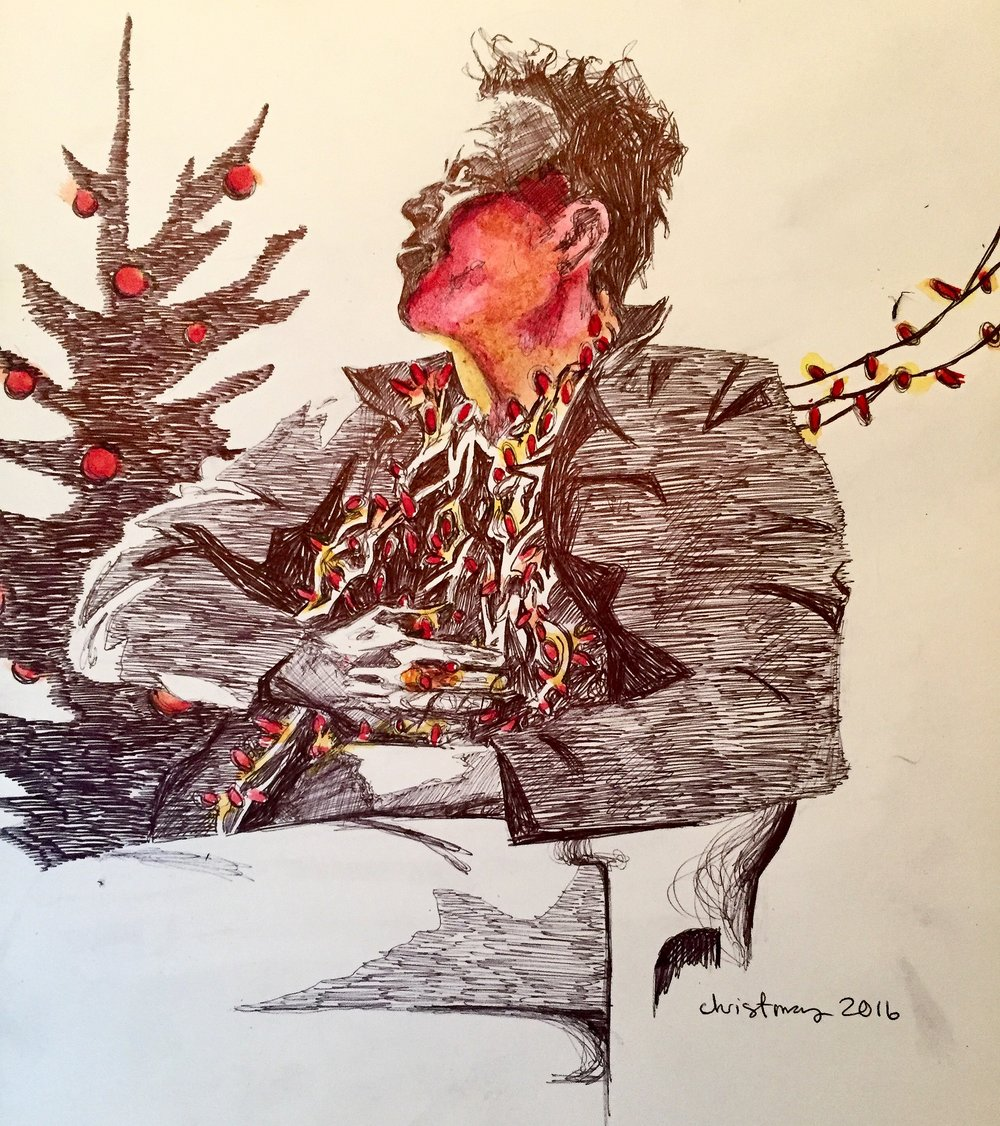 Tom Waits Christmas 2016, bic pen & watercolor
