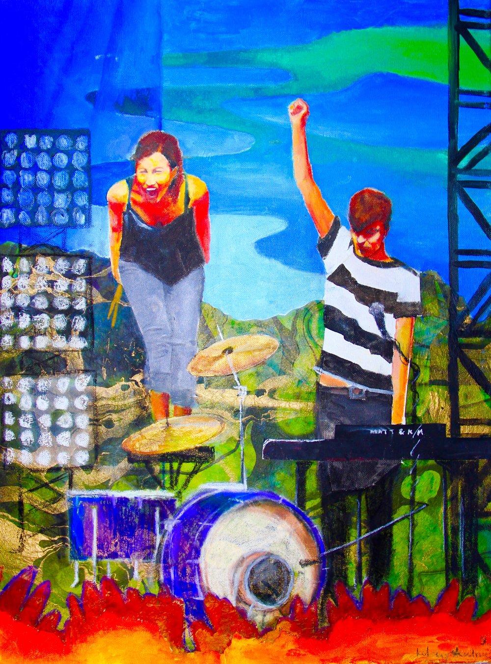 Matt & Kim Lollapalooza 2010 2013, oils, oil pastels, chalk pastels &craft paper
