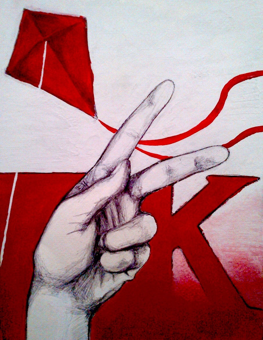 K is for Kite (sign language) 2012, bic pen & acrylic