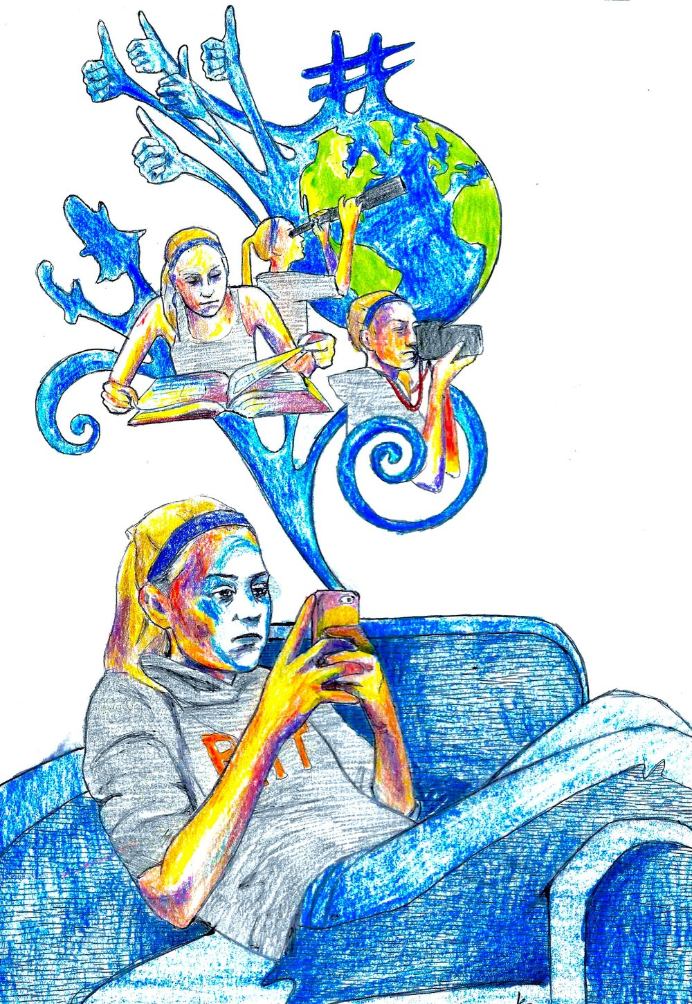 Phones These Days 2015, bic pen & colored pencil December issue of RIT's Reporter Magazine.