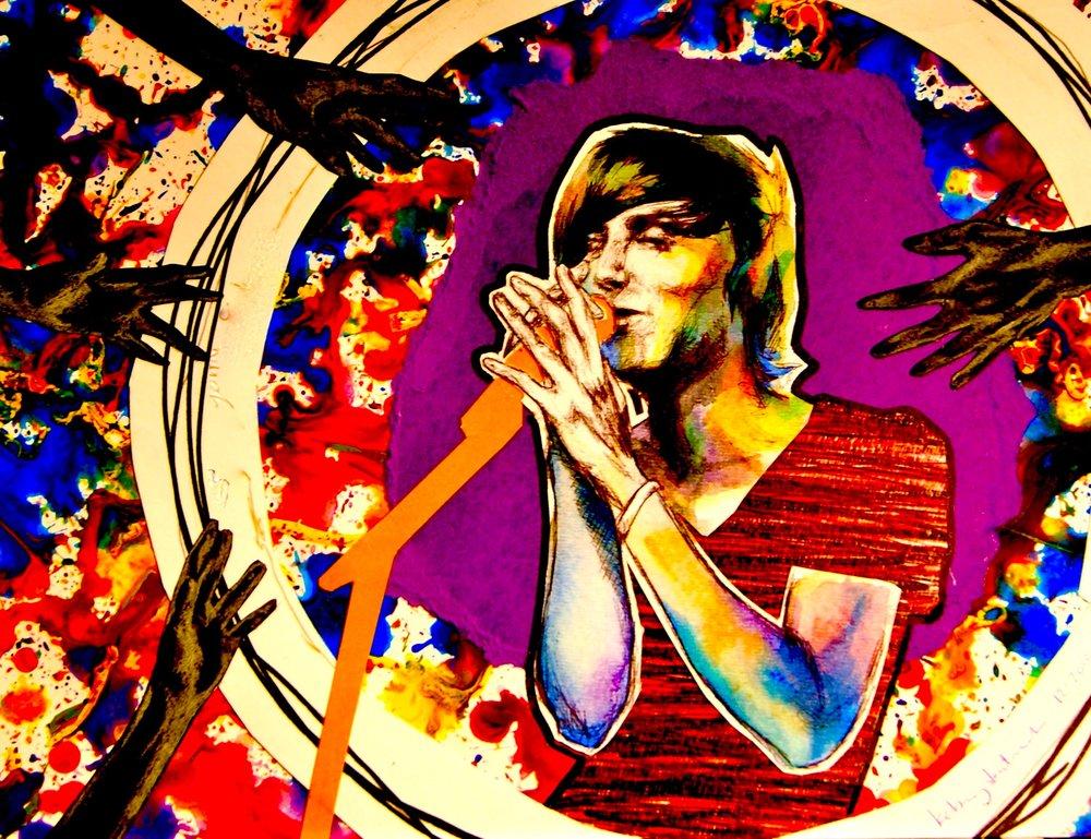 Alternative Musician II 2011, bic pen, colored pencil, watercolor & collage Commission.