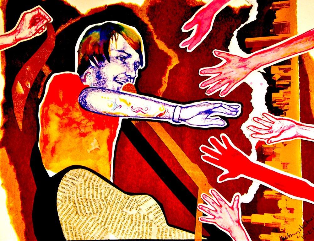 Alternative Musician I   2011, colored pens, watercolor & collage Commission.