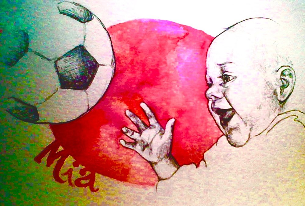 Soccer Daughter - Mia 2011, bic pen, watercolor & digital edit