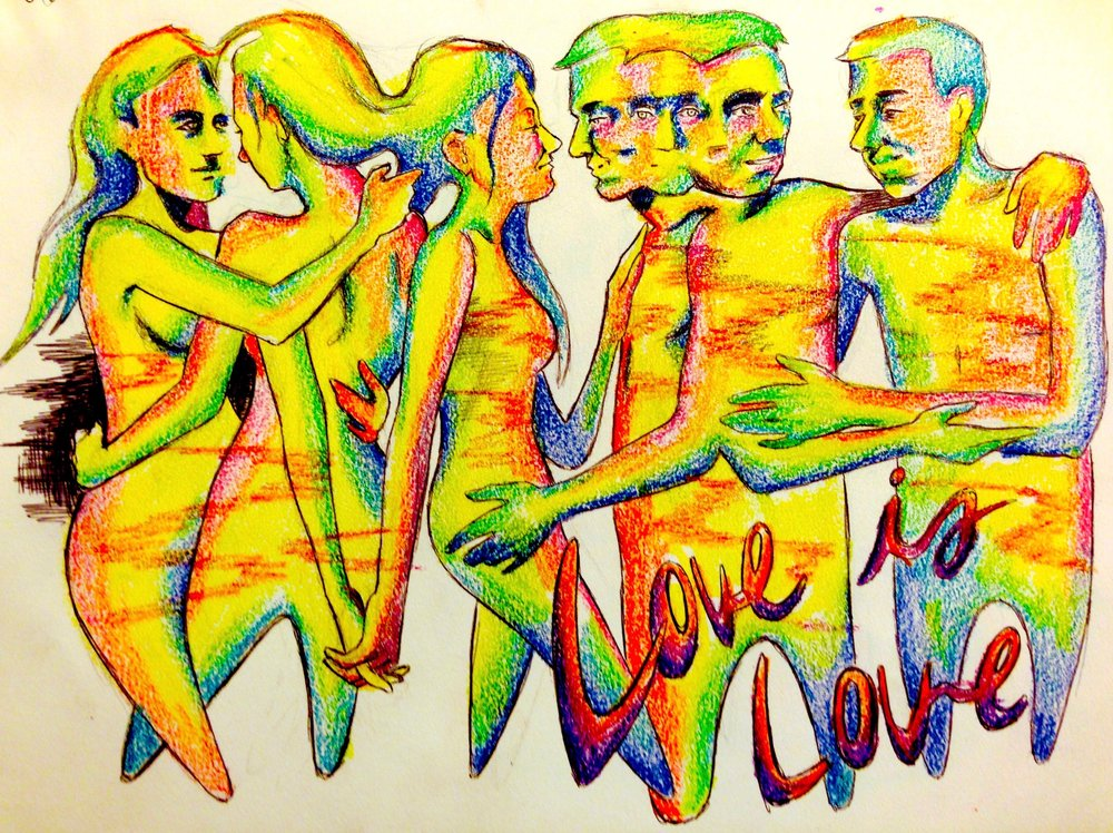 Love is Love   June 26, 2015, bic pen & crayons   Only materials I had but had to make a piece celebrating the monumental day where gay marriage became legal in all of the United States.