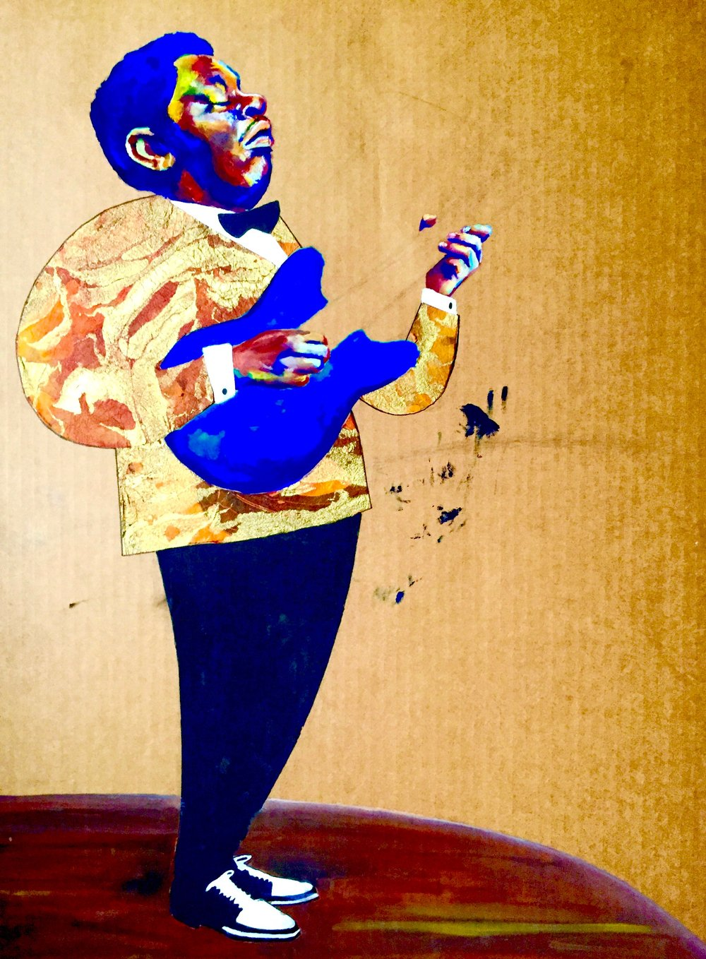 BB King  2015-x, gouache & craft paper