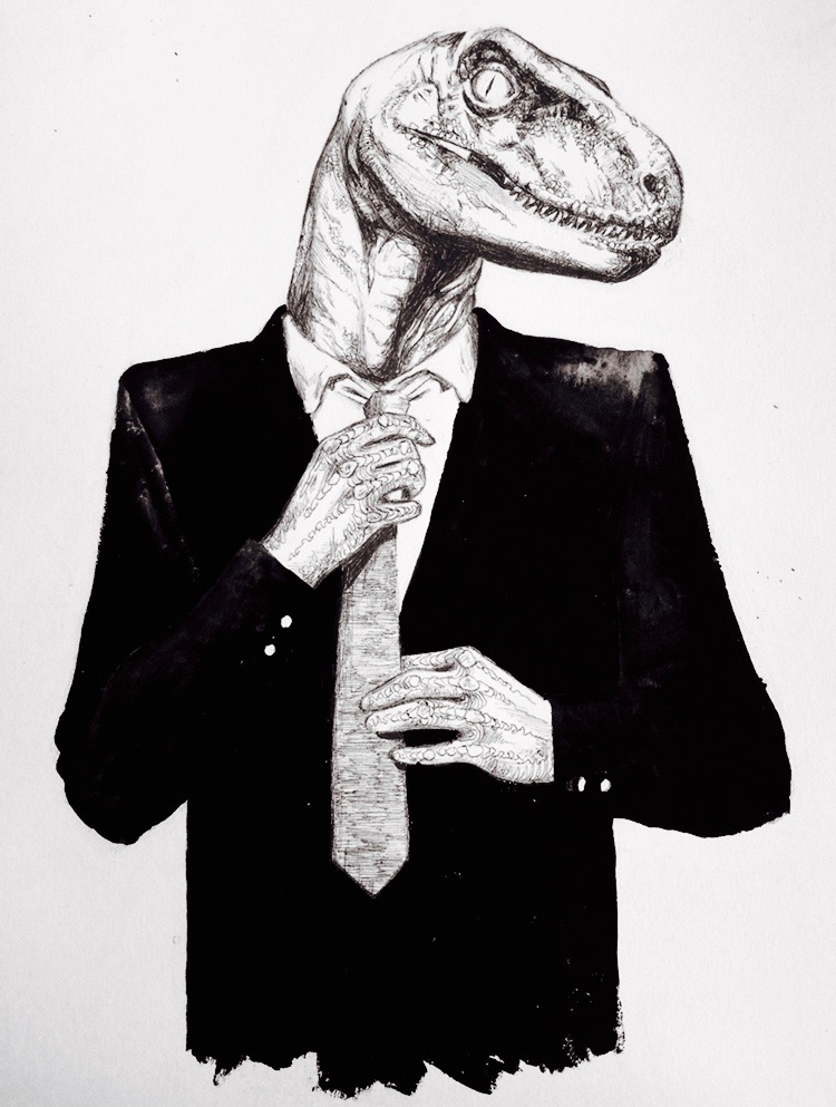 Gentleman Raptor August 2016, bic pen & gouache