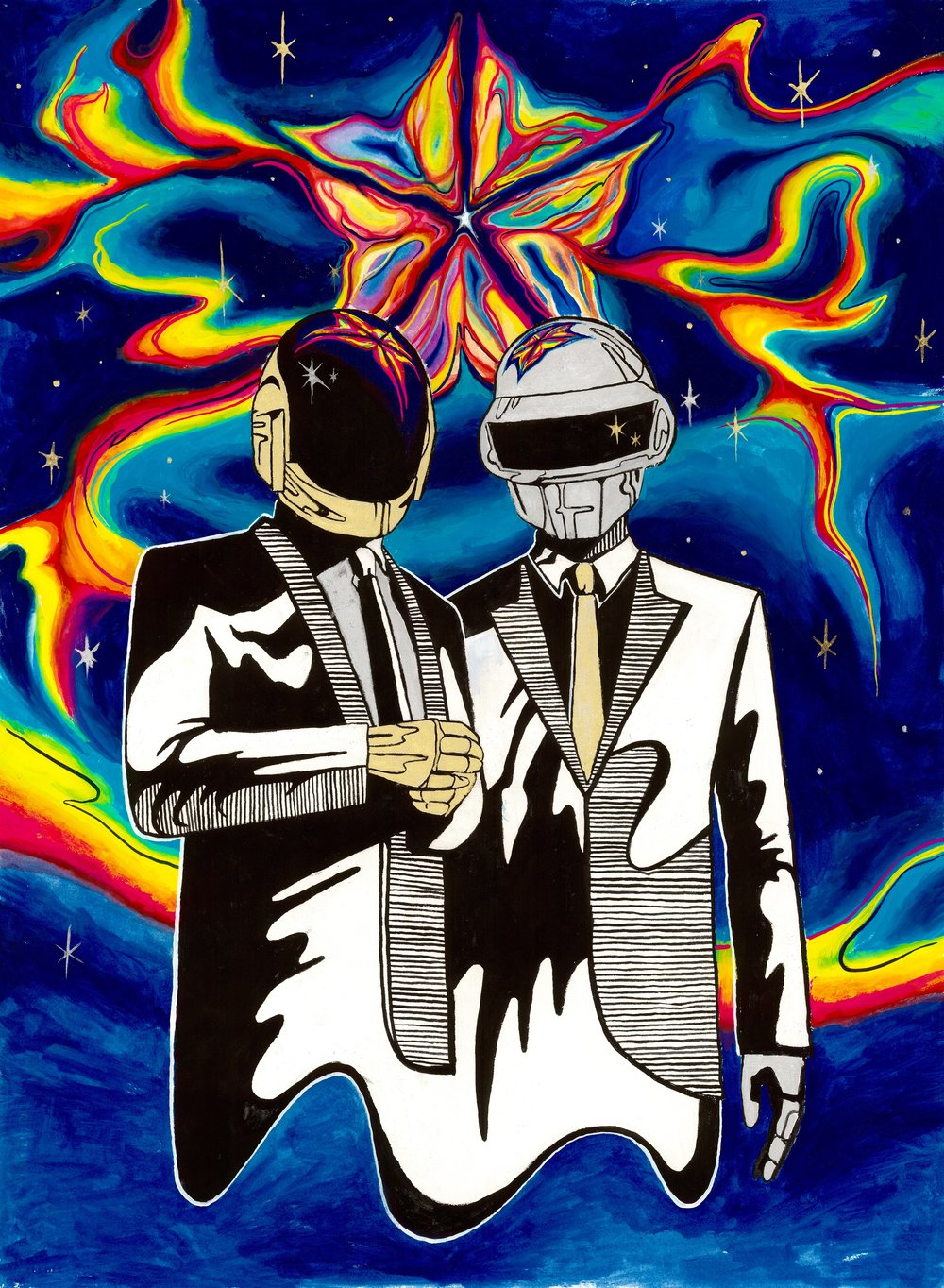 Daft Punk 2017, watercolor, gouache & metalic paint