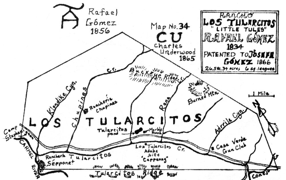 Original map rendering of the 1834 Rancho Los Tularcitos land grant, now primarily Rana Creek Ranch Image Courtesy of the Carmel Valley Historical Society