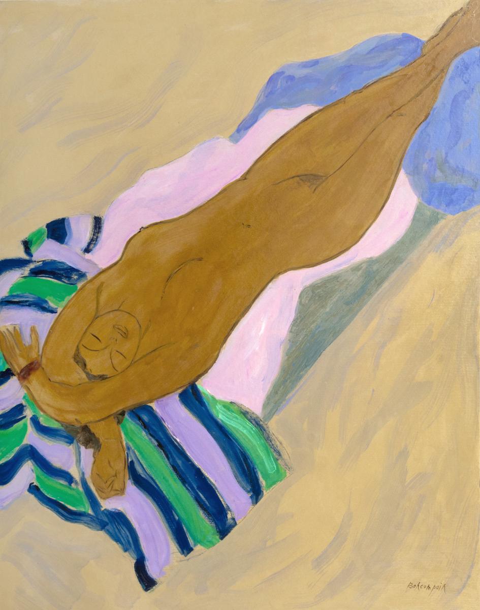Bain de soleil à la serviette rayée, oil on board, 36 x 28 in