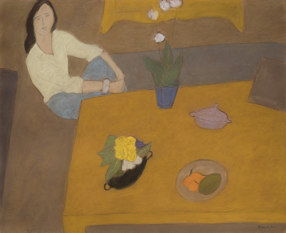 Intérieur à la table basse, pastel on paper, 31.5 x 38 in